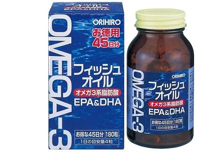 Viên Uống Dầu Cá Omega 3 Orihiro 180 Viên Nhật Bản