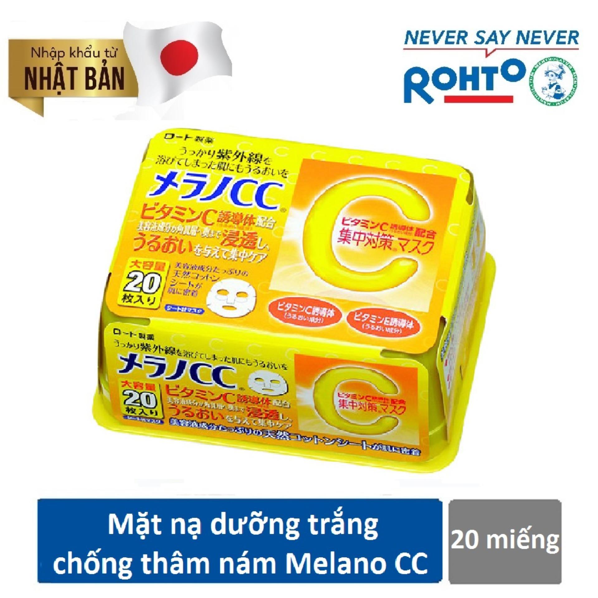 Mặt Nạ Melano CC Rohto 20 Miếng – Dưỡng Trắng Da Trị Thâm Nám